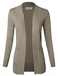 MAYSIX APPAREL Long Sleeve Lightweight Knit Sweater Open Front Cardigan W pocket For