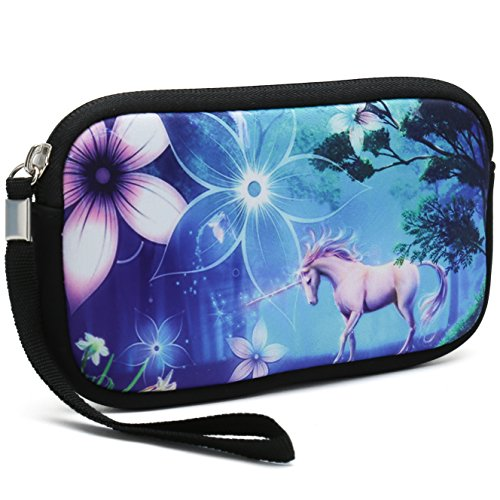 Unisex Portable Washable Travel All Smartphone Wristlets Bag Clutch Wallets, Change Purse,Pencil Bag,Cosmetic Bag Pouch Coin Purse Zipper Change Holder with Strap (Cute Unicorn)