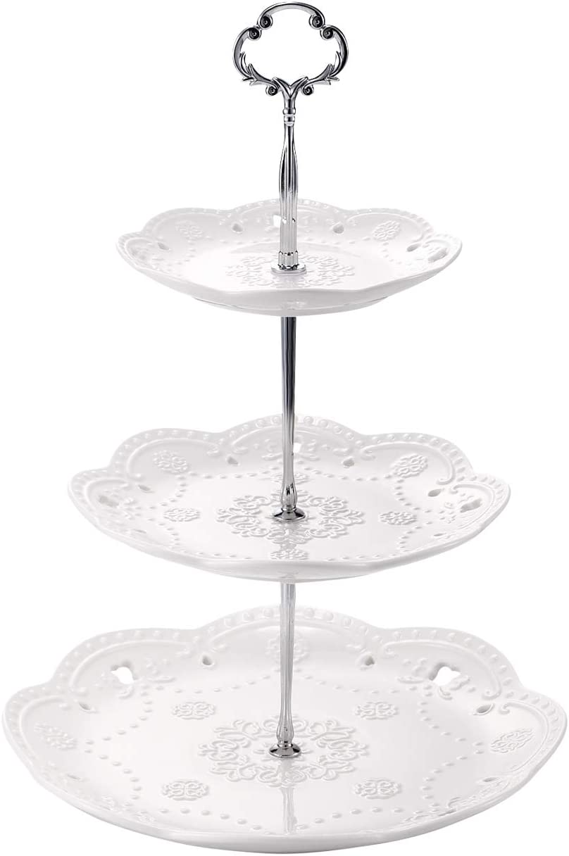 Sumerflos 3-Tier Porcelain Cake Stand, Elegant Embossed Cupcake Dessert Stand - Pastry Tiered Serving Tray for Tea Party, Baby Shower and Wedding (Pure White)