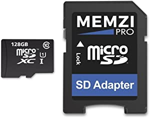 MEMZI PRO 128GB Class 10 80MB/s Micro SDXC Memory Card with SD Adapter for SpyTec in Car Dash Cameras