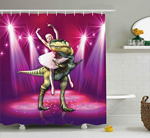 Ambesonne Animal Shower Curtain, Ballerina Dancing with a Dinosaur Under Neon Stage Unusual Absurd Image Print, Cloth Fabric Bathroom Decor Set with Hooks, 75