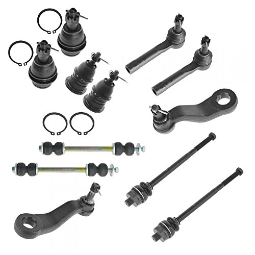 Front Wheel Drive Suspension (12 Piece Kit Front LH RH Ball Joints Tie Rod Ends Sway Bar Link Pitman Idler Arm)