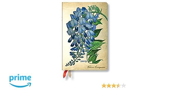 Paperblanks Agenda 2019 con marcapáginas. & Bolsillo Interior | florales Extremo glicinia | Semana para Semana (Horizontal) | Mini (140 x 95 mm)