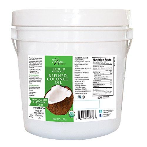 Medium Chain Fatty Acids Coconut Oil - Tresomega Nutrition Organic Refined Coconut Oil, 128 Ounce
