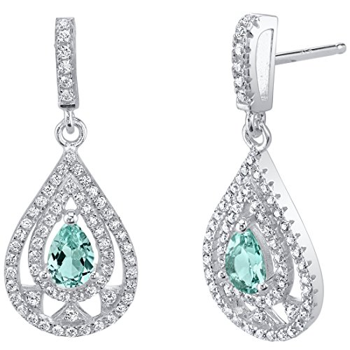 Simulated Paraiba Tourmaline Sterling Silver Chandelier Earrings
