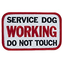 "SERVICE DOG WORKING DO NOT TOUCH Sew-On Embroidered Patch - 4"" X 2.5"""