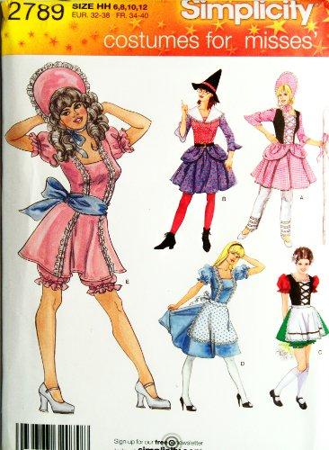 Miss Bo Peep Costumes (OOP Simplicity Costume Pattern 2789. Misses Szs 6,8,10,12 Little Bo Peep; Heidi; Etc Costumes)