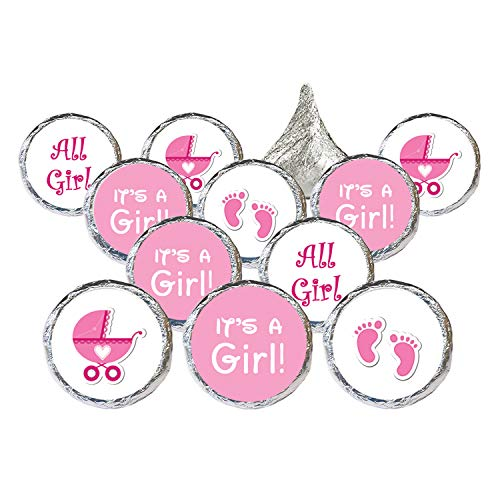 It's a Girl Baby Shower Favor Stickers | Pink Footprint Theme | 324 Count ()