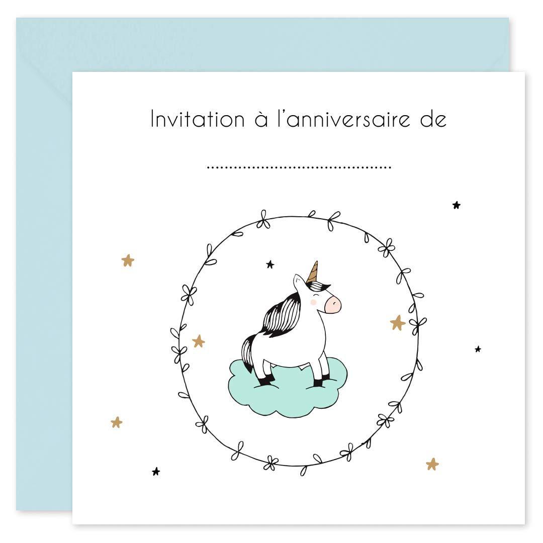 Nuage Licorne Princesse Dinvitation Anniversaire Fille 16 Cartes