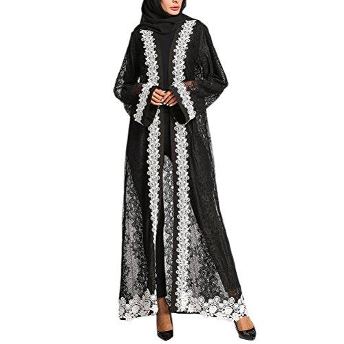 3bc35d3f9158a Dresses Toute Branché Robes Cardigan Vrac Musulmans Noir Maxi ...
