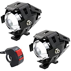 LYLLA One Mode High Beam CREE U5 LED Motorcycle Headlight, DRL Fog Driving Running Light Spotlight for ATV Truck w/ ON/OFF Toggle Switch (Pack of 2)