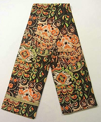 物理的な広大な受け継ぐリサイクル 丸帯 ゴシック調 花の装飾文様 正絹