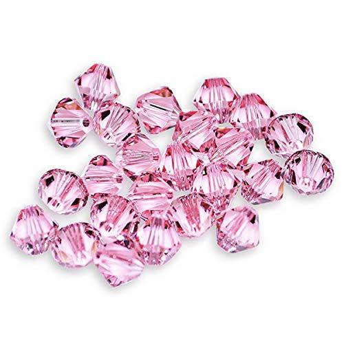40 Light Rose Bicone Swarovski Crystal Beads 5301 4mm ()