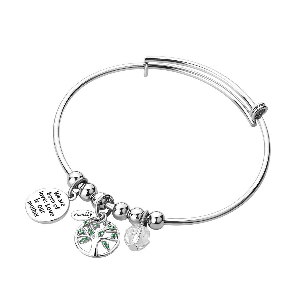 JewelryJo Mom Daughter Family Love Tree of Life Green CZ Adjustable Bangles Charm Bracelets Engraved Quotes Gifts