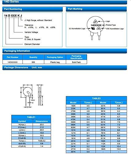 10pcs 7D471K Varistor Resistor 7mm 470V UL