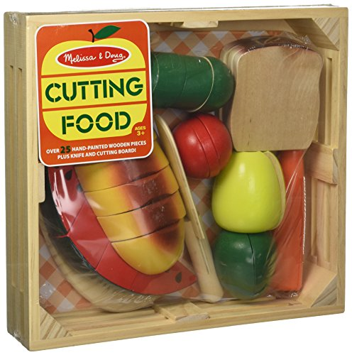 Cutting Food Set (Melissa & Doug Cutting Food - Play Food Set With 25+ Hand-Painted Wooden Pieces, Knife, and Cutting Board)