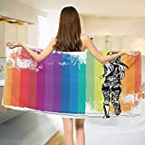 Chaneyhouse Olympics,Bath Towel,Female Marathon Runner Illustration on Vertical Stripes in Rainbow Colors,Bathroom Towels,Orange Purple Blue Size: W 31.5'' x L 63''