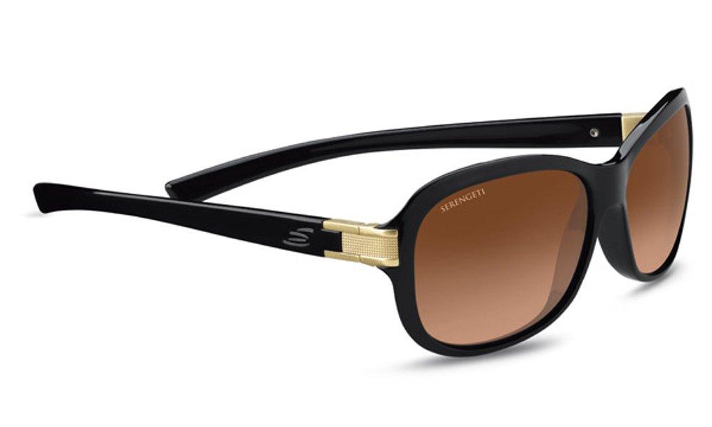 Serengeti Isola Sunglasses, Shiny Black/Satin Brass