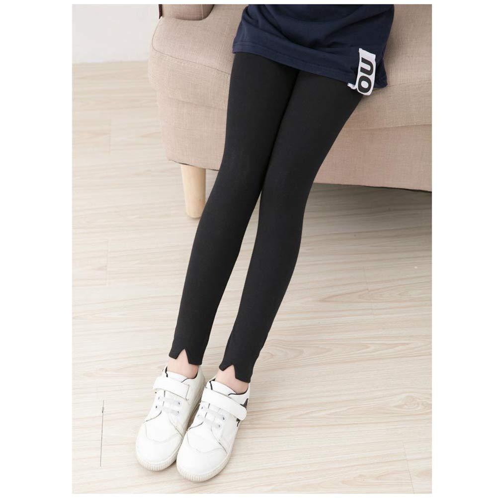FENICAL Girls Plain Cotton Leggings Kids Dance Stretch Tights Plain Black Length Leggings S, 110 Yard