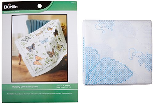 Bucilla Stamped Embroidery Kit, 45 by 45-Inch, 45178 Butterfly