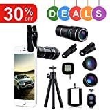 Wonyered 4-in-1 Cell Phone Camera Lens 12X Telephoto Lens 180 Degree Fisheye Lens 0.65 Wide Angle Lens Micro Lens with Tripod and Clips for iPhone Samsung Galaxy Android and All Smartphones