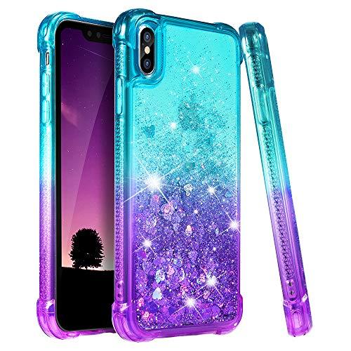 iPhone Xs Case, iPhone X Case, Ruky [Gradient Quicksand Series] Glitter Flowing Liquid Floating TPU Bumper Cushion Reinforced Corners Girls Women Cute Case for iPhone X/Xs 5.8 inch, Teal & Purple