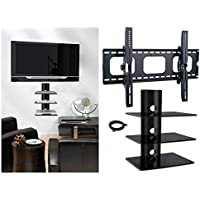 2xhome - NEW TV Wall Mount Bracket & (3) Triple Shelf Package – Secure Low Profile LED LCD Plasma Smart 3D WiFi Flat Panel Screen Monitor Moniter Display Large Displays - Flat Thin Ultra Slim Sleek Against the Wall Adjusting Adjustable - 3 Tier Under TV Tempered Glass Floating Hanging Shelves Shelving Unit Rack Tower Set Bundle - Up to 15 degree degrees Tilt - Compatible VESA 200mm x 200mm, 400mm x 400mm , 600mm x 400mm, 700mm x 450mm, 718mm x 450mm