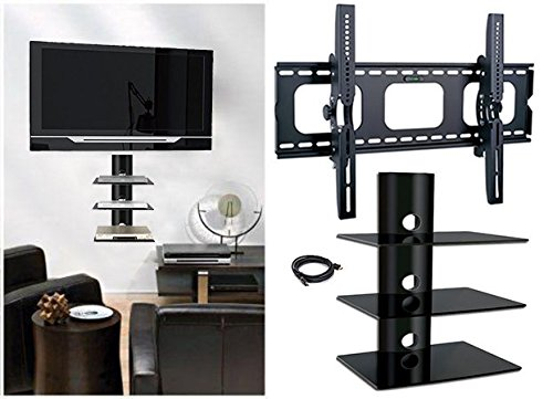 2xhome - NEW TV Wall Mount Bracket & (3) Triple Shelf Pac...