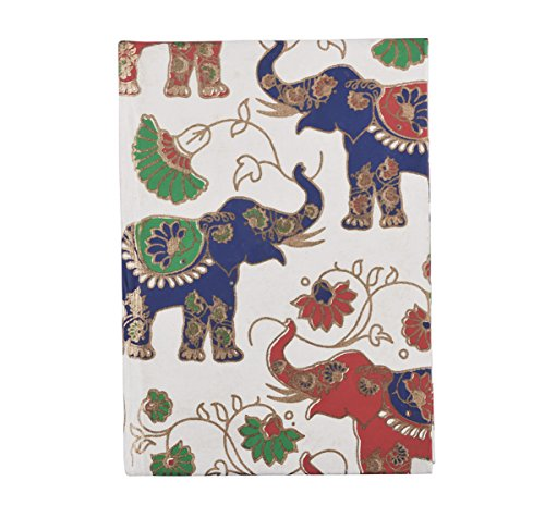 Christmas Gifts, Hardbound Pocket Notebook Diaries with Colorful Elephant Designs and Handmade Paper Travel Writing Sketchbook Journals