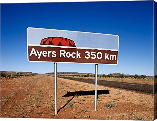 Distance Sign on The Road Side, Ayers Rock, Uluru-Kata Tjuta National Park, Australia Canvas Art Wall Picture, Gallery Wrap, 15 x 12 inches