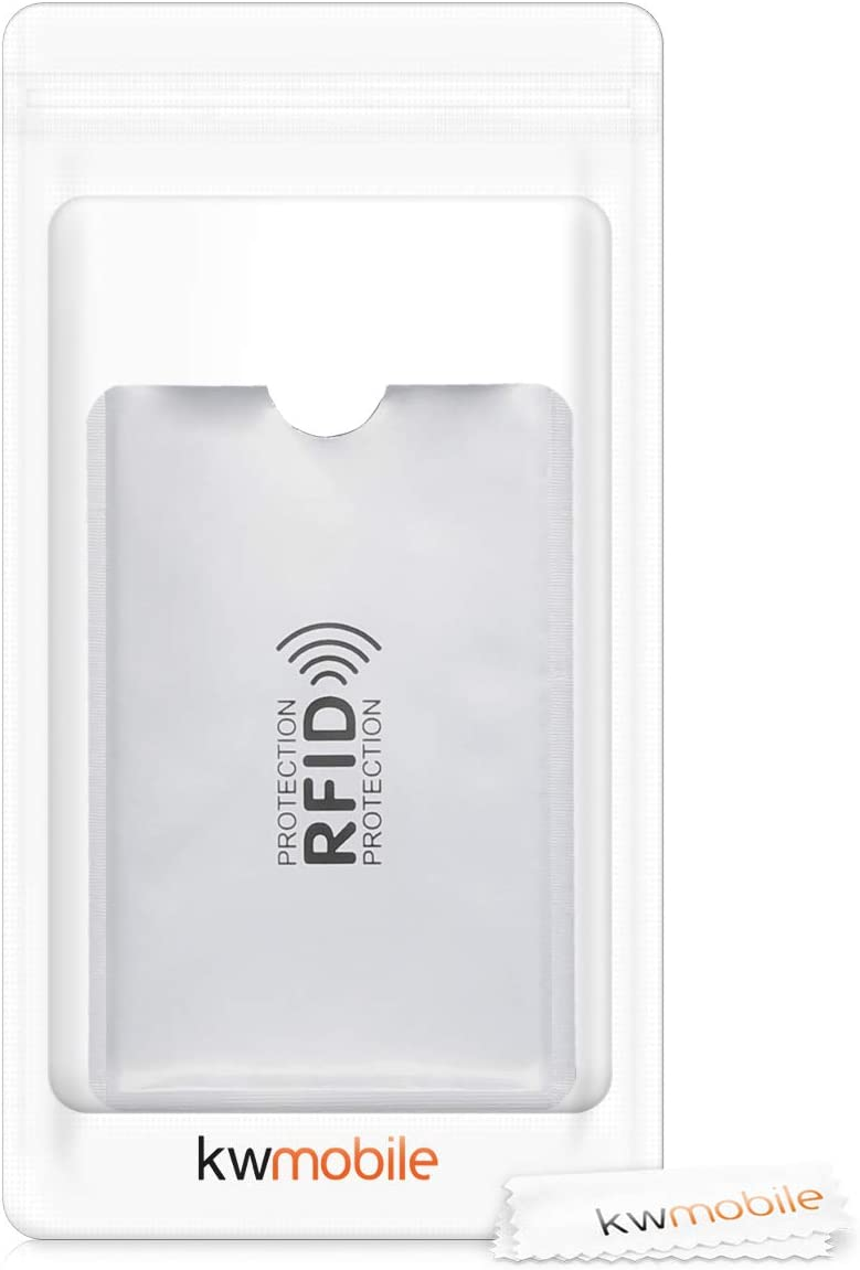 Silver kwmobile 5 Pieces Credit Card Sleeves ATM ID Card Drivers License Holder Inserts with RFID Blocker Debit Card