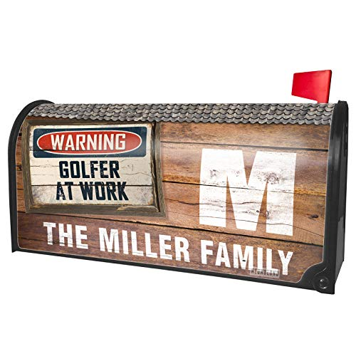 NEONBLOND Custom Mailbox Cover Warning Golfer at Work Vintage Fun Job Sign