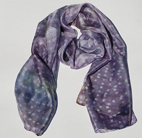 Handmade Natural Dye Women Silk Scarf – Blueberry Spring