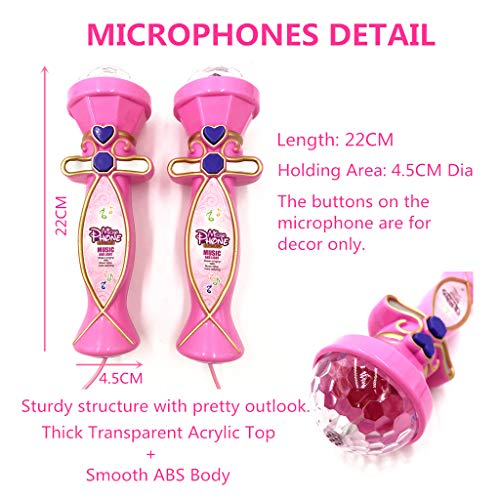 OceanEC Kids Karaoke Machine, Kids Karaoke Music Toy Play Set with Microphones, Bluetooth Connect to Your Electronic Devices for Music (2 Mics Pink) by OceanEC (Image #2)