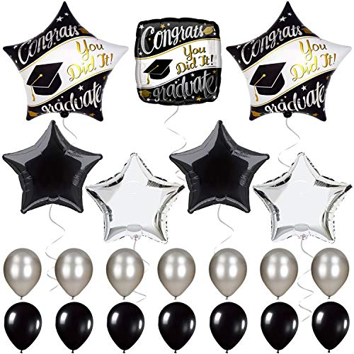 Graduation Party Supplies Black White and Silver - Graduation Balloons for Graduation Decorations - Mylar Foil Helium Balloon for Grady Party,High School - Spells - You did It and Congrats Graduate]()