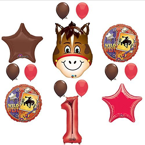 Wild West Cowboy Western 1st Birthday Party Supplies and Balloon Decorations]()