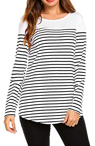 SimpleFun Womens Plus Size Long Sleeve Striped Tunic Shirt Loose Fit Blouses Color Block Tops(White and Black Stripes,3X) - Stripe Long Sleeve Tunic