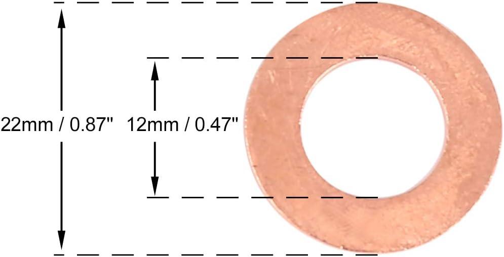 X AUTOHAUX 5pcs Cuivre Rondelle Plat Joint /étanch/éit/é Anneau pour Voiture 12 x 22 x 1.5mm
