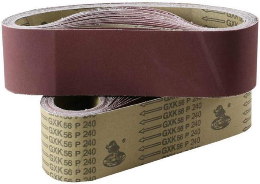 75mm Pantalla de lijado de banda abrasiva Cintur/ón Lijado de papel pulidor 40 a 600 Cintur/ón abrasivo de ce/ñido WHKKLN 10Pcs 610