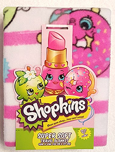 Shopkins Super Soft Throw Blanket Featuring Kookie Cookie, D'Lish Donut and More on Pink Stripes (Homemade Christmas Costume Ideas Men)