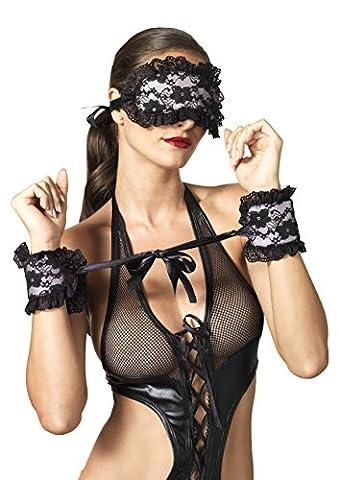 Leg Avenue Women's Kink By Bondage Restraint Set with Satin Lace Cuffs and Eye Mask, Black/Pink, One Size