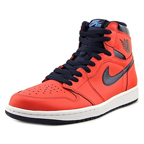 Jordan Air 1 Retro High OG David Letterman Men's Shoes Light Crimson/Midnight Navy/University Blue/White 555088-606 (10 D(M) US) by NIKE