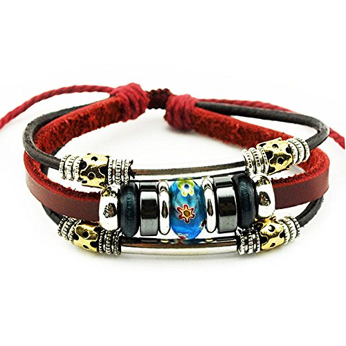 More Fun Flower Murano Beads Multilayer Red Leather Metal Tube Rope Wrap Bracelet (Blue)