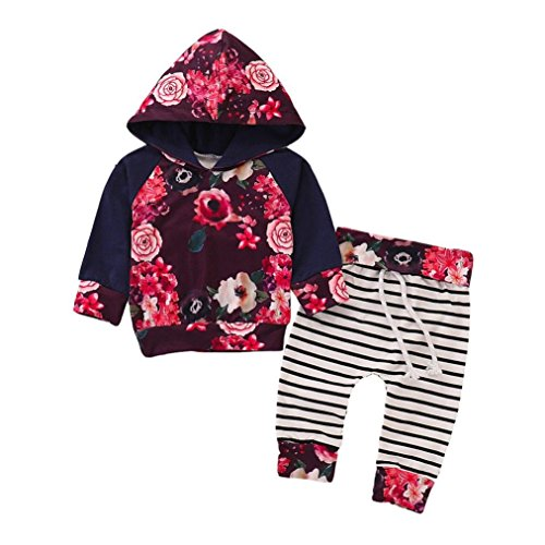 WuyiMC® Clearance Sale Newborn Baby Boys Girls Hooded Clothing Tops+Prin Striped Pants Clothes Sets (Navy, 6M) -
