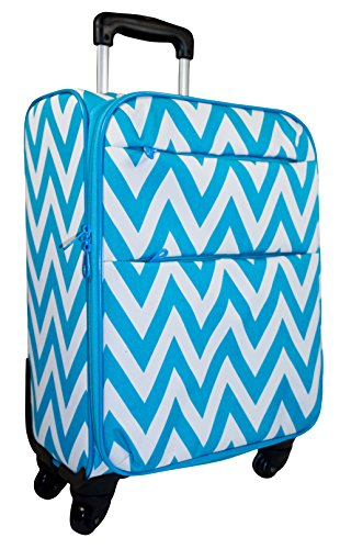 Ever Moda 360 Spinner Luggage Carry On, Teal Blue Chevron