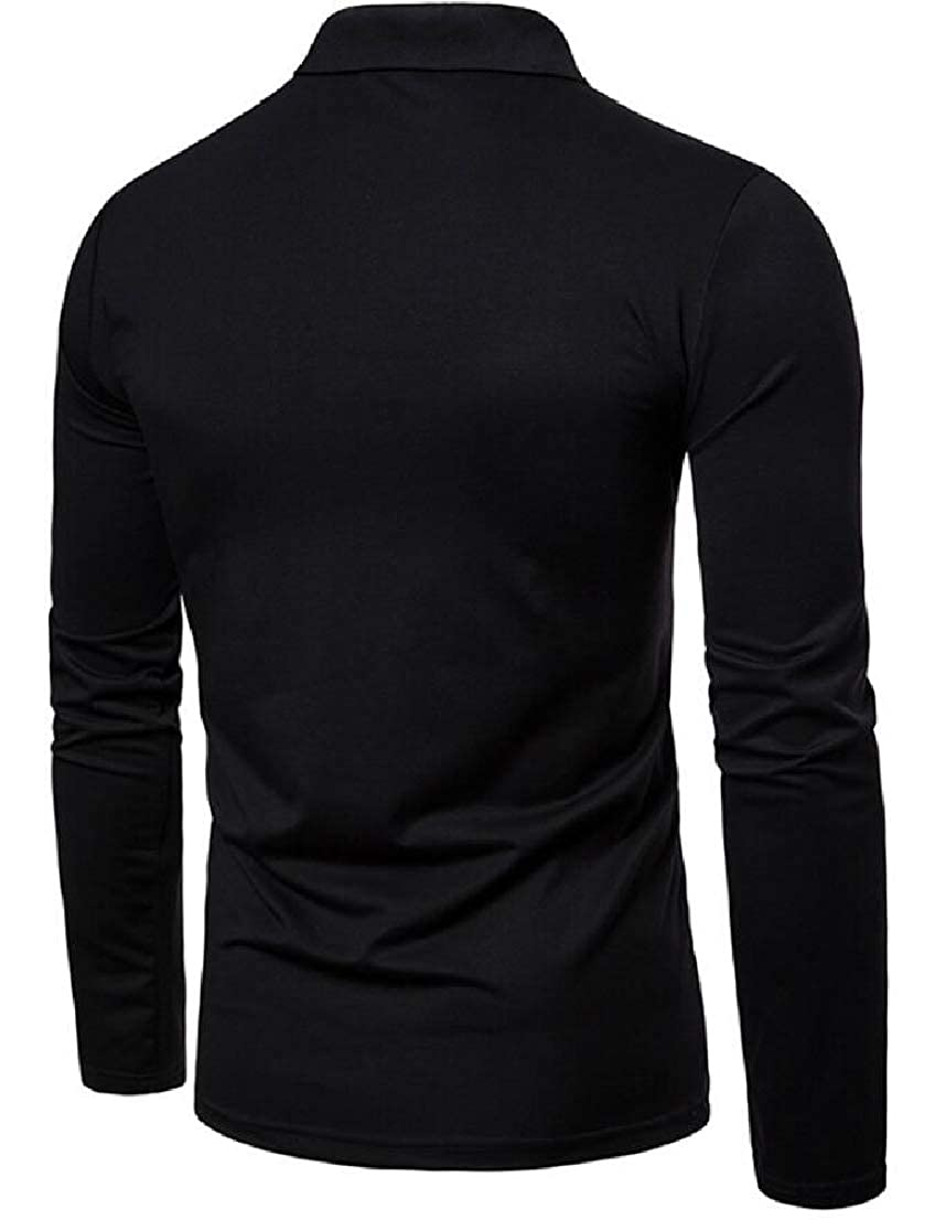 Wan-T Mens Christmas Casual Embroidery Long Sleeve Polo Shirts