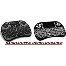 BEST Rii I8 Mini 2.4 Ghz USB Interface Rechargeable Wireless Keyboard with Back Light and Touchpad Mouse Combo by LTK Solutions. Perfect for Media Devices. Compatible with Android TV Boxes, Kodi Media Play, Smart TVs, PS4, Xbox One, HTPC, Xbox 360, IPTV