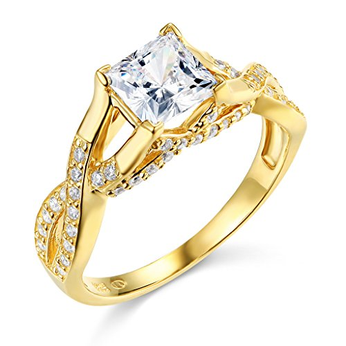 TWJC 14k Yellow Gold SOLID Princess Square Wedding Engagement Ring - Size 5 ()