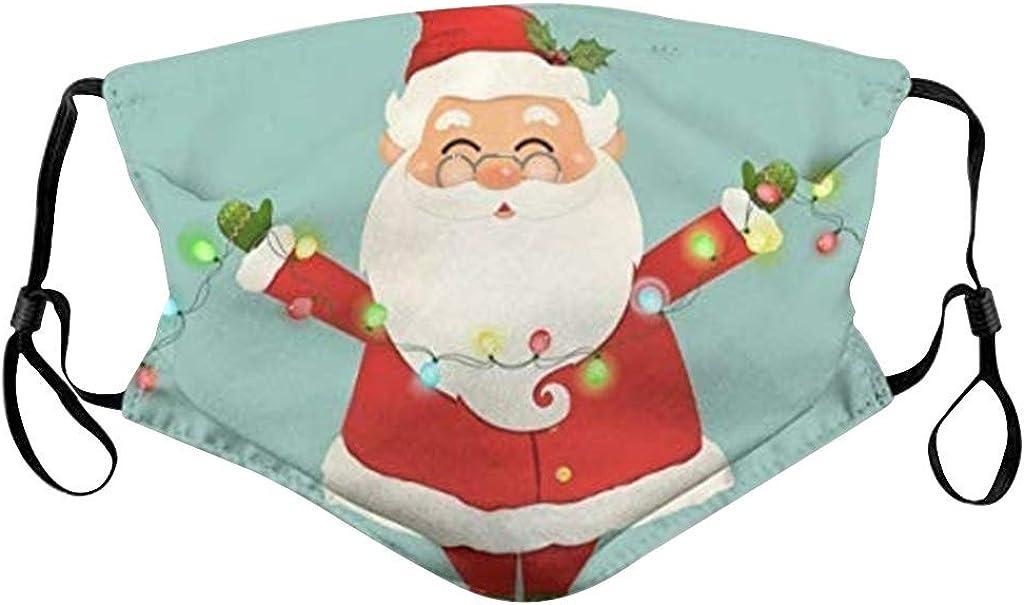 ODJOY-FAN Weihnachten Erwachsene Mundschutz Staubschutz Drucken Schutz Gesicht Bandanas Waschbar