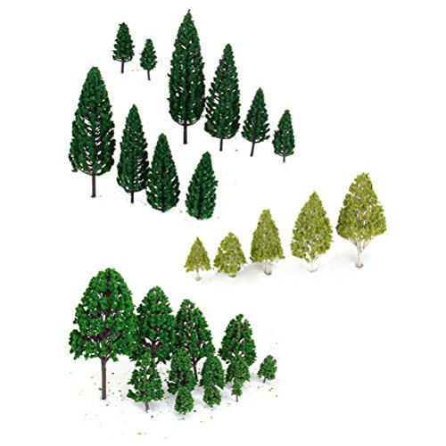 WINOMO 27pcs Model Miniature Trees Architecture Landscape Scenery Trains Railways Trees Scale 1:50 (Scenery Trains Model)